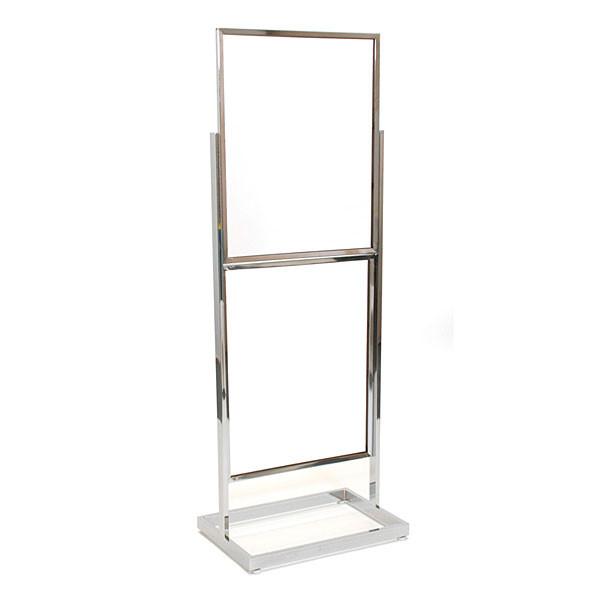 """Floor standing sign holder 22""""x28"""" double frame 65 1/2"""" tall rectangular tube - chrome"""