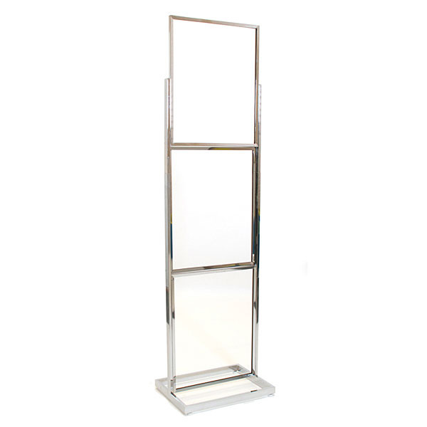 "Floor standing sign holder 22""x28"" triple frame 90""high rectangular tube - chrome"