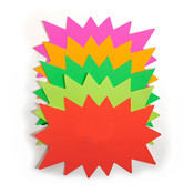 "Sunburst sign card 7""x9"" blank - 5 fluorescent colors 100/pack"