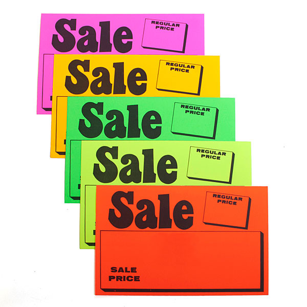 """Sign card """"sale/regular price"""" 7"""" x 11"""" - 5 fluorescent colors 100/pack"""