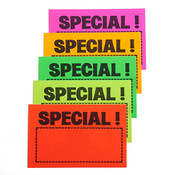 "Sign card ""special!"" 3.5""x5-1/2"" - 5 fluorescent colors 100/pack"
