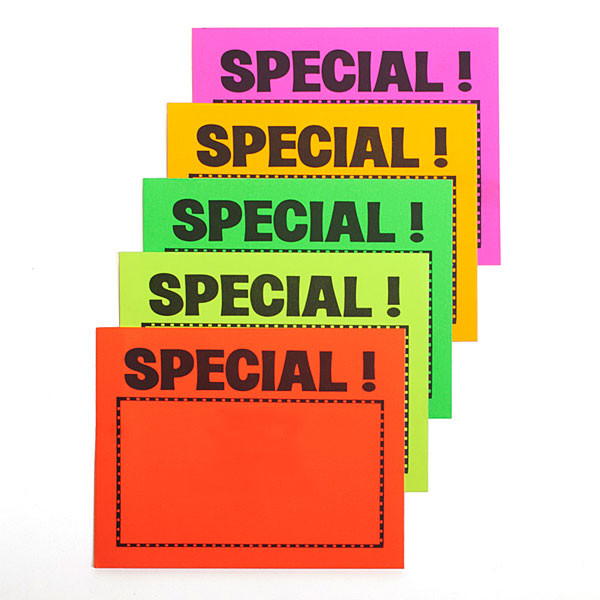 "Sign card ""special!"" 5-1/2"" x 7"" - 5 fluorescent colors 100/pack"