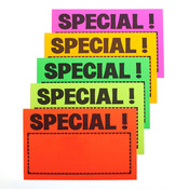 "Sign card ""special!"" 7"" x 11"" - 5 fluorescent colors 100/pack"