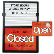 Open/closed sign with message board removable letters and numbers vertical - black frame with red and white sign