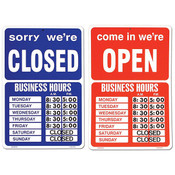 Open/closed window sign 2 sided red/blue with peel & stick numbers 9-1/2 x 14