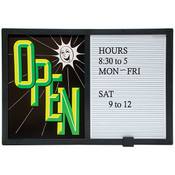 Open/closed sign with message board - horizontal - green and black