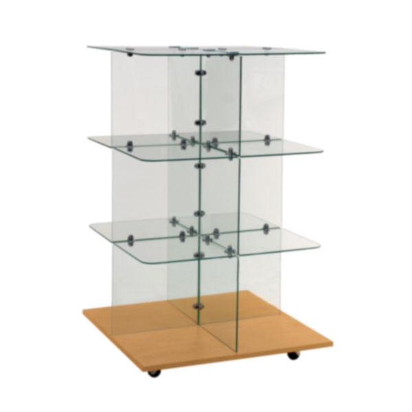 "Glass unit 30"" square with flat top - chrome connectors"