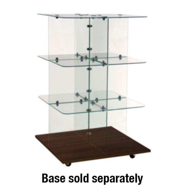 "Glass unit square 30"" flat top clear"