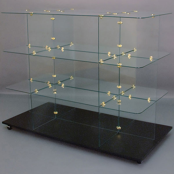 Glass unit rectangular 30 x 60 w/ rounded corners brass connectors