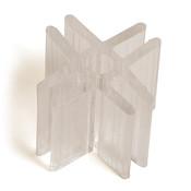 "4-way lexan glass connector 3/16"" - clear"