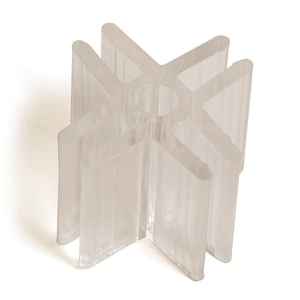 "4-way lexan glass connector 3/16"" - clear"