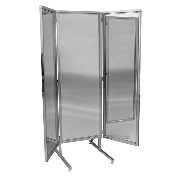 """3 way mirror 18""""x60"""" wings with chrome stand 20""""x60"""" center"""