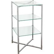 """Glass Tower Folding Chrome 37""""H X 18"""" Sq. - Must ship LTL"""