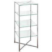 """Glass Tower Folding Chrome 52""""H X 18"""" Sq. - Must ship LTL"""