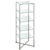 """Glass Tower Folding Chrome 68""""H X 18"""" Sq. - Must ship LTL"""