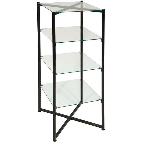 """Glass Tower Folding Black 52""""H X 18"""" Sq"""