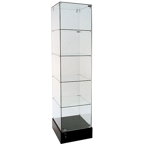 Frameless Glass Showcase Tower 18W x 18D x 72H