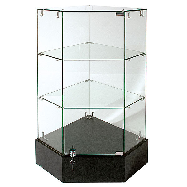 Frameless Glass Corner Unit 18 x 18 x 38H