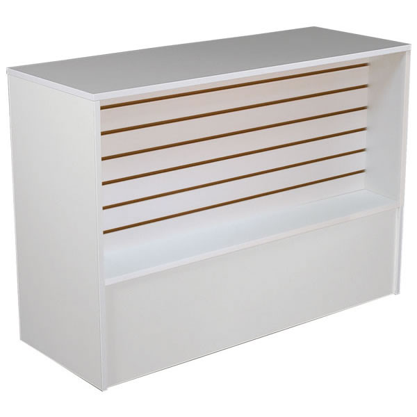 Slatwall Front Wrap Counter 70 inch - White