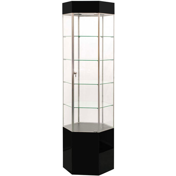 "Display Tower Showcase - Hex, GLOSS Black HPL, Chrome Frame 75""H x 20""W"