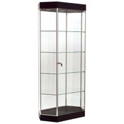 "Display Tower Showcase - Elongated Hex, GLOSS Black HPL, Chrome Frame 75""H x 36""W x 20""D"