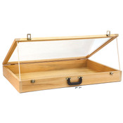 "Portable wood showcase with carrying handle 24""wx36""lx4""h"