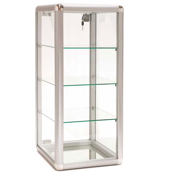 Countertop Showcase - 14Lx12Wx27H Aluminum Frame - Silver Finish