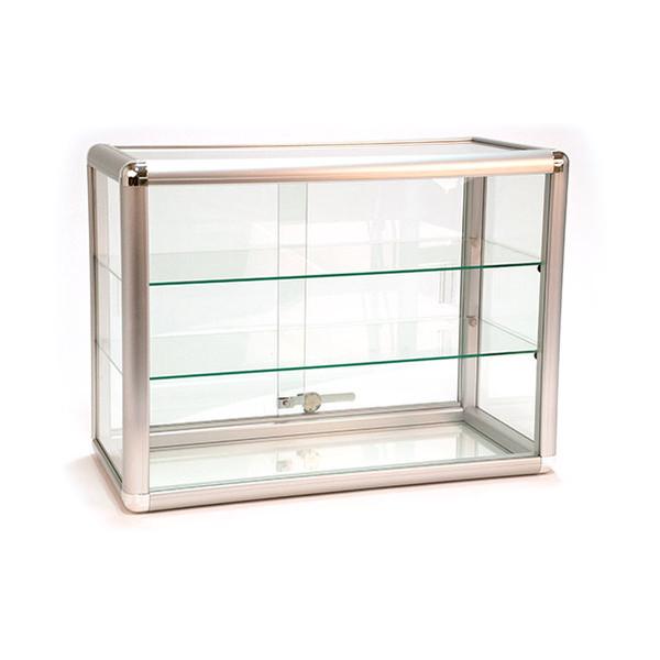 Countertop Showcase - 24W x 12D x 18H Aluminum Frame - Silver Finish