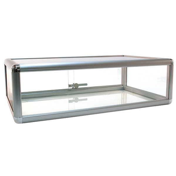Countertop Showcase - 30L x 18D x 9H Aluminum Frame - Silver Finish