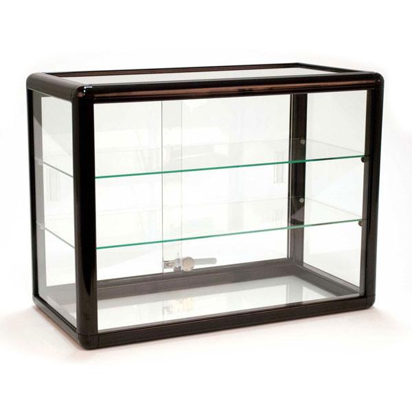Countertop Showcase - 24W x 12D x 18H Aluminum Frame - Black Finish