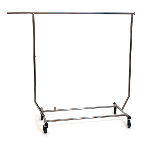 Salesman rolling rack collapsible round tubing - chrome