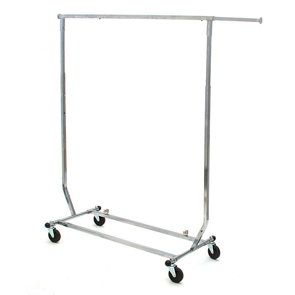 Salesman rolling rack collapsible square tubing - chrome