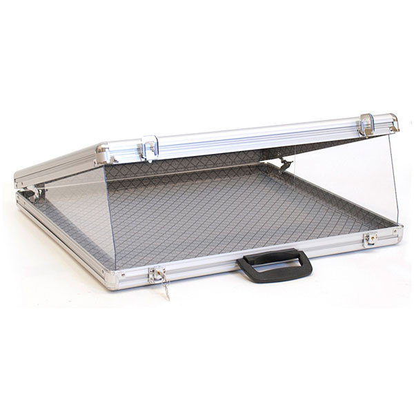 "Portable display case angled top 24""w x 20""d x 3""h"