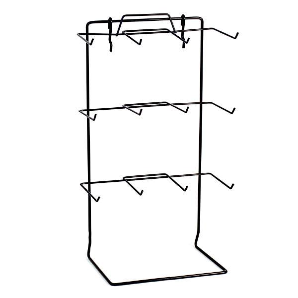 "Countertop rack also fits slatwall or pegboard 12 peg 17-1/2""hx10""wx6.5""d hooks 4-1/2"" long - black"