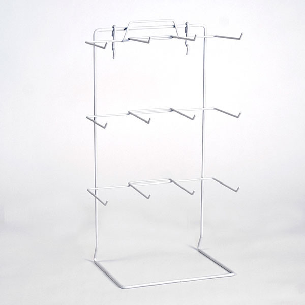 "Countertop rack also fits slatwall or pegboard 12 peg 17-1/2""hx10""wx6.5""d hooks 4-1/2"" long - white"