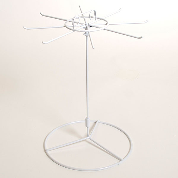 """Counter spinner rack 8-hook white wire 15""""hx11"""" dia."""