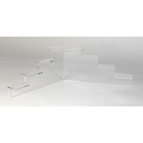 "Acrylic mini platform stairs 6-1/8""h x 21""w - clear"