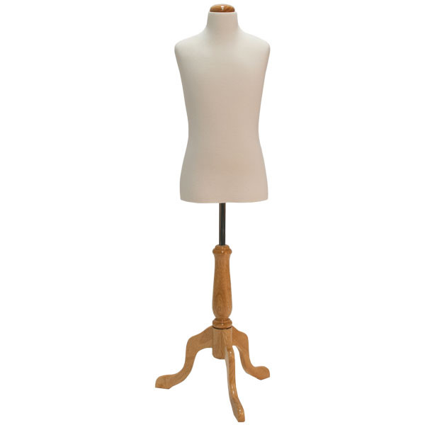 Children's form 10-12 year-old cream jersey fabric with natural wood dome neck block