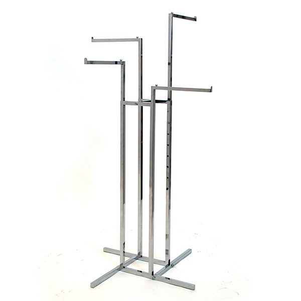 "4-way garment rack with 4-16"" straight arms square tubing frame/arms - chrome"