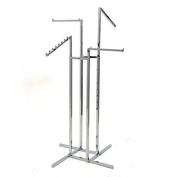 """4-way garment rack with 2-16"""" straight arms and 2 slant arms square tubing frame/arms - chrome"""