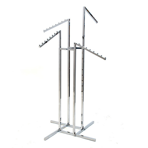 4-way garment rack with 4 slant arms square tubing frame/arms - chrome