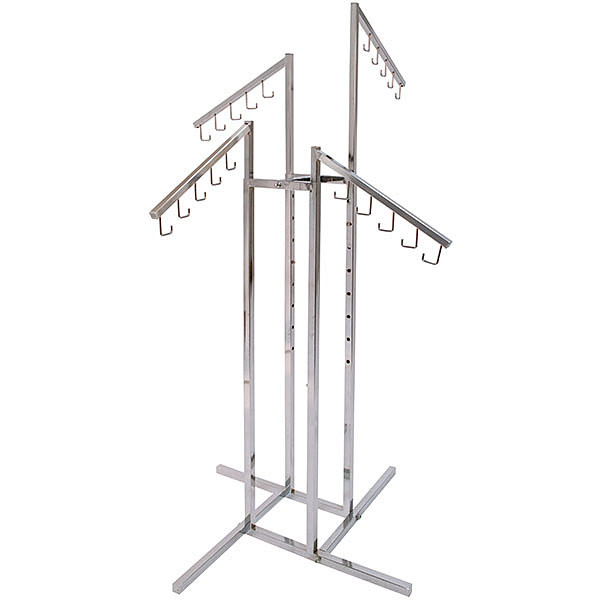 4-way garment rack with four J hook arms - chrome