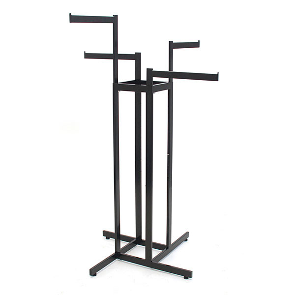 "4-way garment rack with 4-16"" straight arms rectangular tubing frame/arms - satin black with chrome hanger strips"