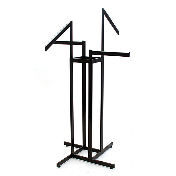 4-way rect tube black clothes rack with 2 straight/2 slant arms
