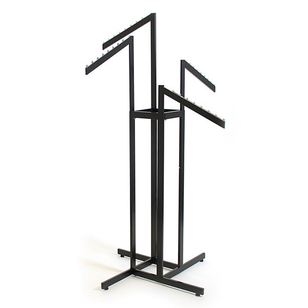4-way garment rack with 4 slant arms rectangular tubing frame/arms - satin black with chrome hanger strips