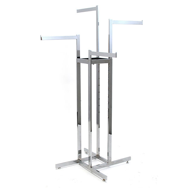 "4-way garment rack with 4-16"" straight arms rectangular tubing frame/arms - chrome"
