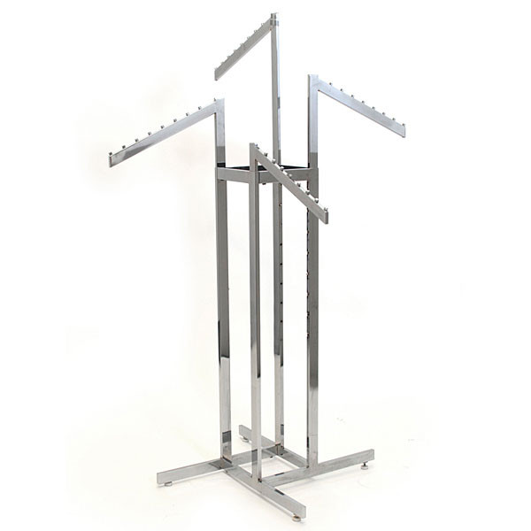 4-way garment rack with 4 slant arms rectangular tubing frame/arms - chrome