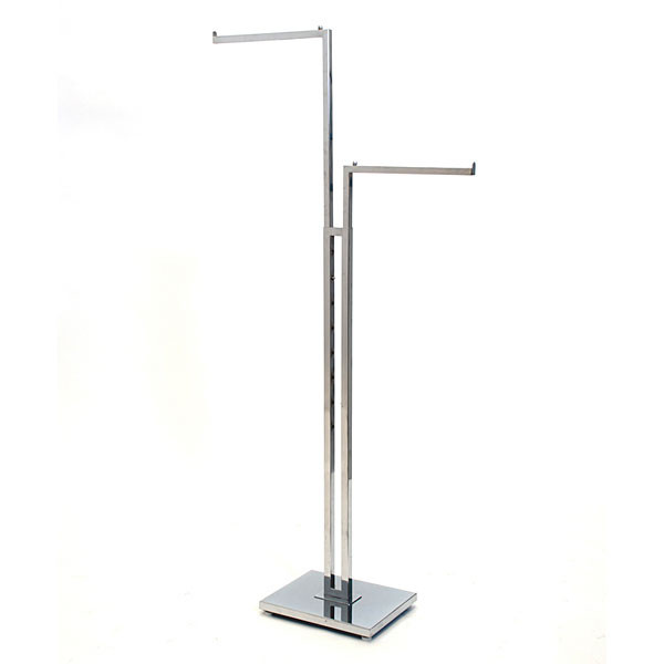 "2-way garment rack with 2-16"" straight arms square tubing frame/arms - chrome"