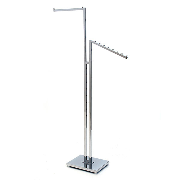 "2-way garment rack with 1-16"" straight arm and 1 slant arm square tubing frame/arms - chrome"