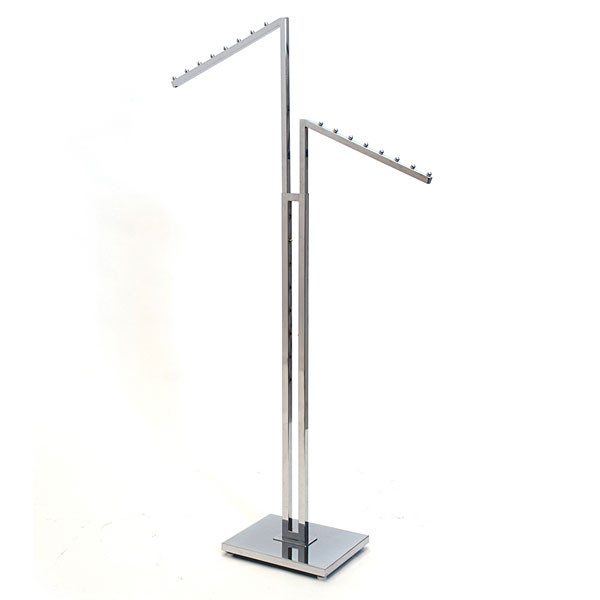 2-way garment rack with 2 slant arms square tubing frame/arms - chrome2-way garment rack with 2 slant arms square tubing frame/arms - chrome